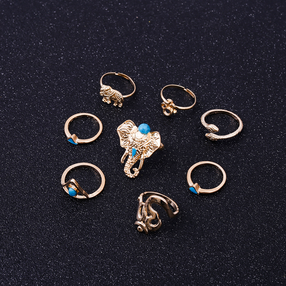 HTB1U3voRVXXXXXZXXXXq6xXFXXXz Fashionable 8-Pieces Boho Retro Spirituality Symbols Stackable Midi Ring Set