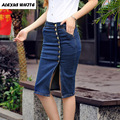 S-6XL Pencil Skirt 2017 Summer Women's Breasted Stretch Denim Jeans Knee-Length Skirts for Woman