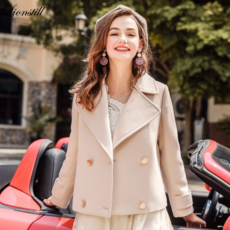 LIONSTILL autumn winter women woollen overcoat female fashion casual long sleeve overcoat office lady pure color tideway coat