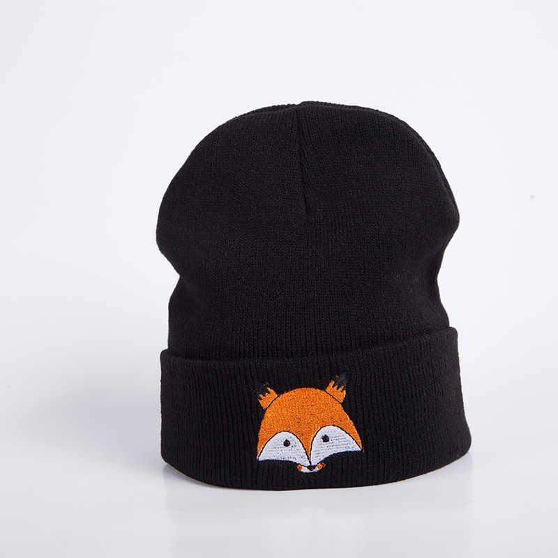 ฤดูหนาวหมวกเด็กการ์ตูนสุนัขจิ้งจอกปักทารกหมวกถักเด็กทารกหมวกสาวหมวกเด็กโครเชต์