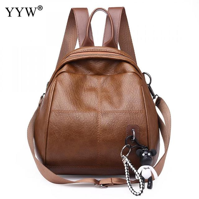 bf6ea20e4be4 Brown Plaid PU Leather Small Backpack Female Ita Bag School Backpacks for  Children New Multifunction Lady s Crossbody Bags