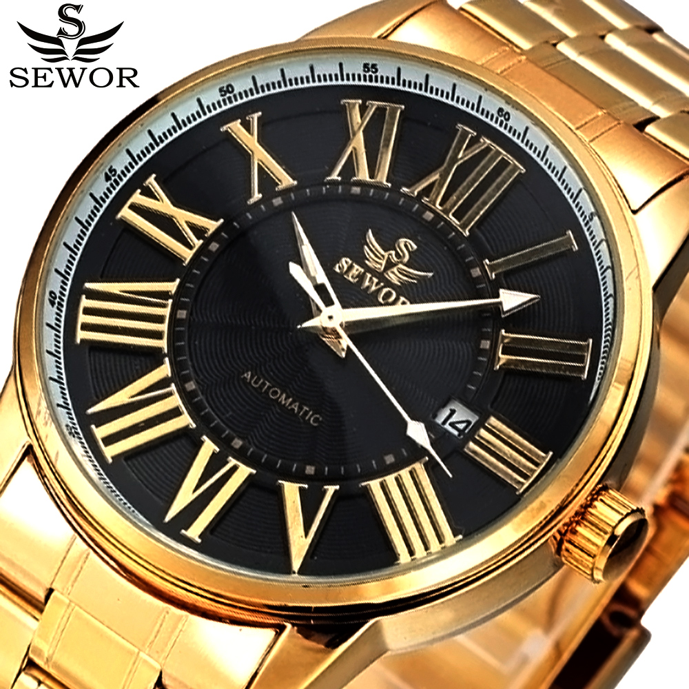 2017 SEWOR Gold Full Stainless Steel Automatic Mechanical Watch Men Auto Date Mens Designer Watches Clock Men Relogio Masculino