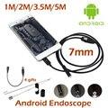 7mm Lente USB Teléfono Androide Cámara Endoscopio 1 M 2 M 3.5 M 5 M Impermeable cámara de inspección de Tuberías MicroUSB OTG USB Del Animascopio de la Serpiente Cámara