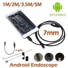 7mm Mini USB Teléfono Androide Cámara Endoscopio 1 M 2 M 3.5 M 5 M Impermeable inspección de la Serpiente Del Tubo MicroUSB OTG Boroscopio Cámara HD720P