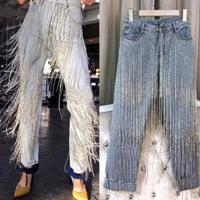 Autumn Fashion Handmade Beading Diamonds Tassel Jeans Women Denim Pants