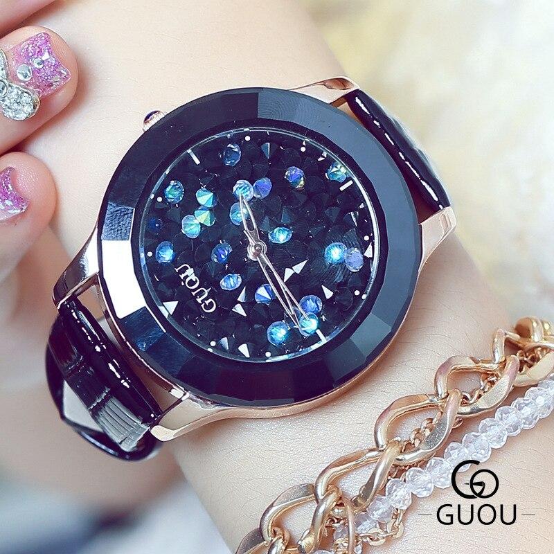 New GUOU Fashion Luxury Trendy Full Crystal Rhinestone Leather Women Ladies Dress Quartz Watch Wristwatch Watches reloj mujer  недорого