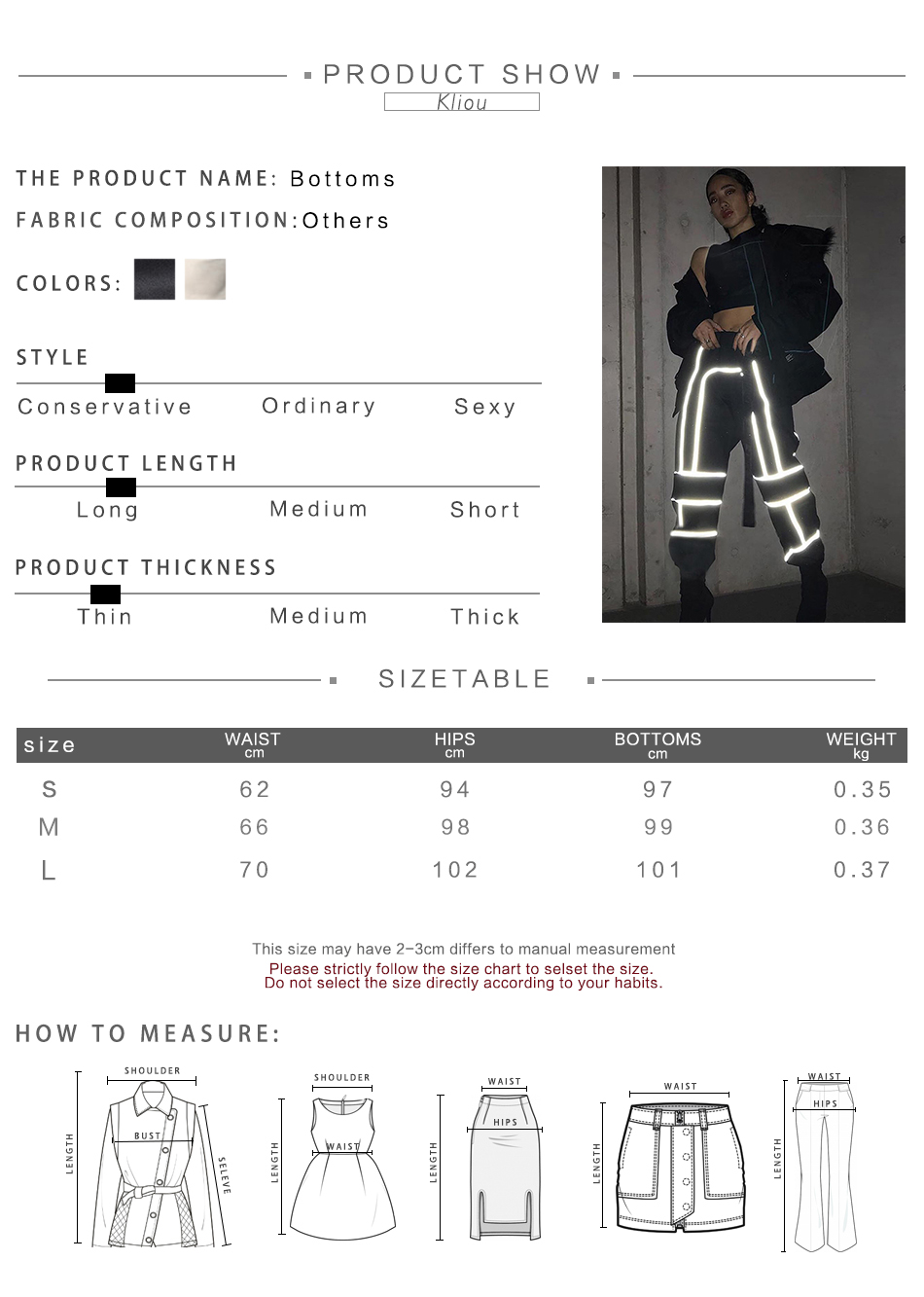 HTB1U3wPae6sK1RjSsrbq6xbDXXaO - Kliou women fashion street Reflective patchwork cargo pants 2019 new arrival zipper fly with sashes pockets knitted trousers