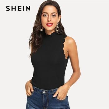 f909ac4a7b SHEIN Black Workwear Elegant Scallop Trim Solid V Neck Long Sleeve ...