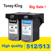 Toney King PG 512 Ink Cartridge PG 512 CL513 CL 513 for Canon Pixma iP2700 iP2702 MP240 MP250 MP252 printer cartridges