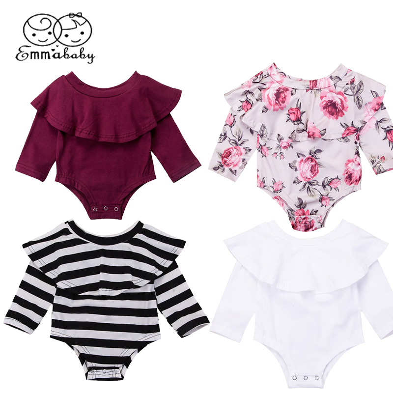 цены на Emmababy Fashion Toddler Baby Girls Off Shoulder Ruffled Romper Long Sleeve Jumpsuit Outfits Clothes в интернет-магазинах