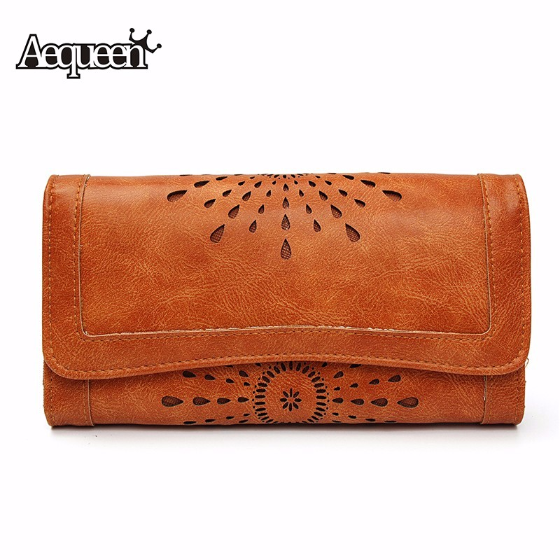 AEQUEEN Wallets Women Hollow Out Leather Long Purse Women Cos
