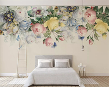 beibehang Custom fashion classic American hand-painted rose flower vine modern background papel de parede wallpaper papier peint