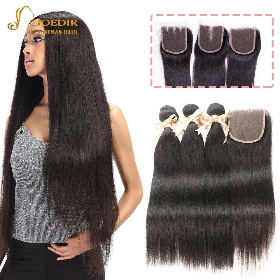 JOEDIR Brazilian Straight Hair Human Hair Bundles with Closure Cheap 3/4 Bundles With Closure Natural Black Color Hair Weft