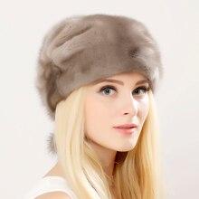 Whole Genuine Mink Fur Hats Female Winter With mink Fur Pompons Elegant Luxury High Quality Ladies