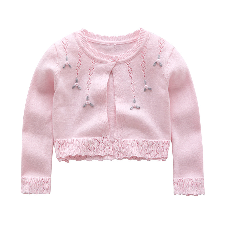 Little Toddler Baby Girl Cardigan Pink White Smocked Embroidery Flower Spring Fall Sweaters For Kids Children Clothes Fashion