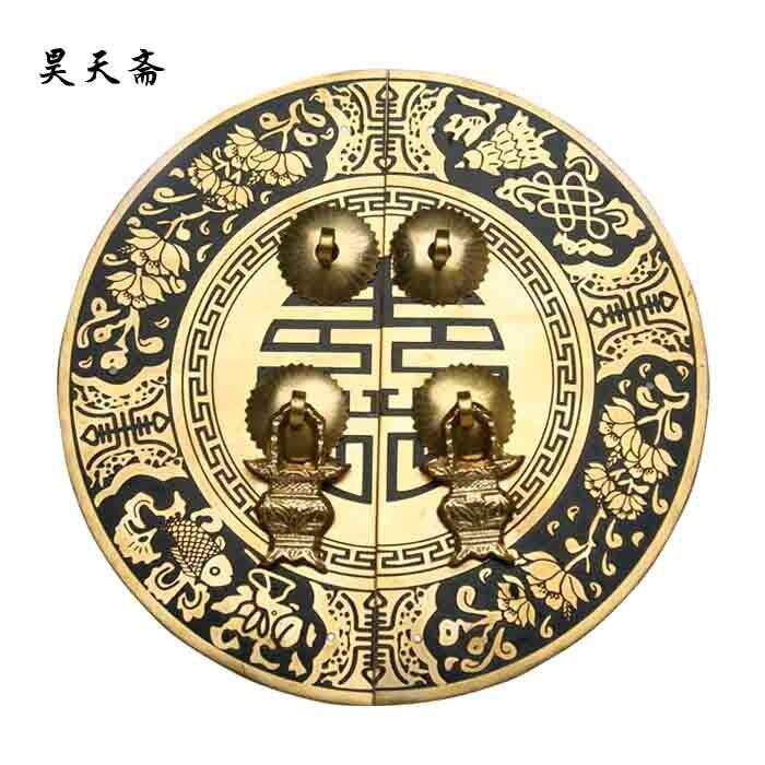 Haotian fast copper door handle handle Chinese antique copper round house door handle HTB-066 [haotian vegetarian] round numbers engraved door handle chinese antique copper handle thicker htb 249