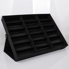 Портативный Box Путешествия Солнцезащитные Очки Дисплей 18 Сетки Очки Кейс Для Хранения Коробка Классический Черный Цвет