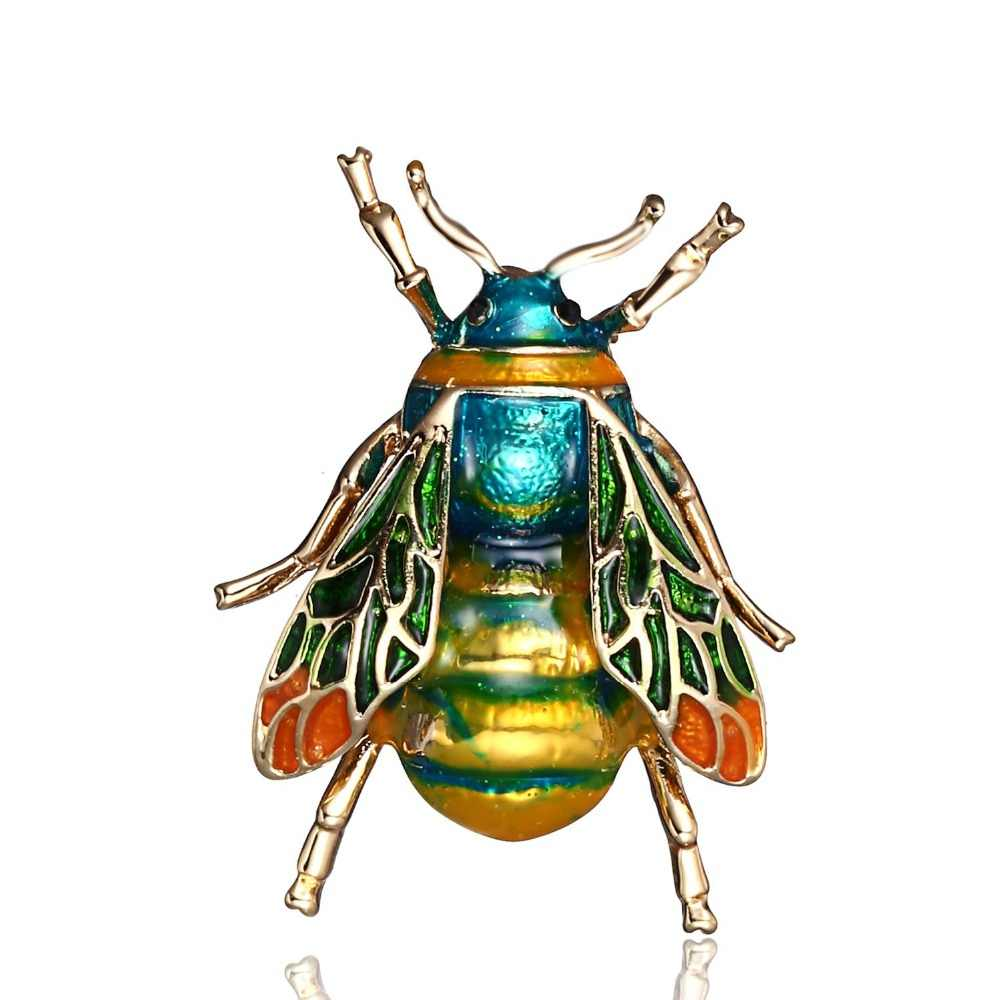 High Quality Vintage Enamel Bumble Bee Bros Unisex Serangga Crystal Bros Pin Wanita Pria Perhiasan Lucu Lencana Fashion Perhiasan