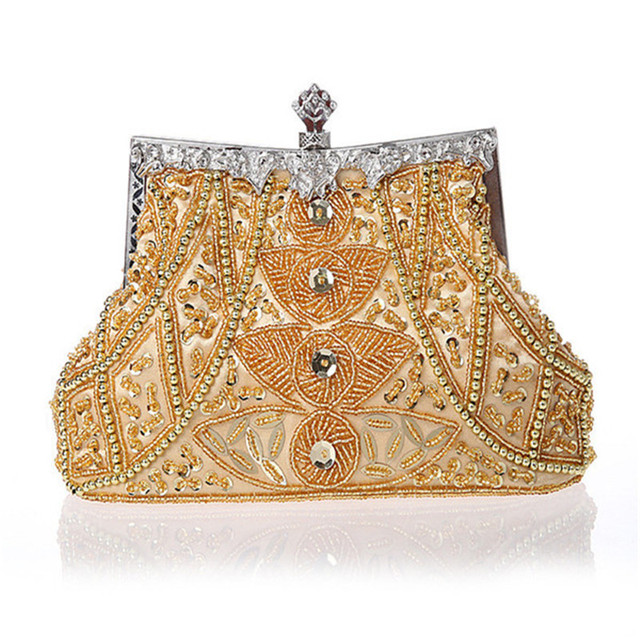 2016 New Vintage Women Evening Bags Beaded Wedding Handbags Clutch Purse Bag For Day Clutches
