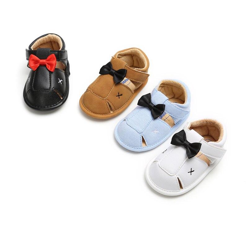 Newborn Baby Boy Sandals PU Bow Cute Clogs No-slip Summer Girls Shoes Rubber Slip Sandal Sports Baby Boy Shoes 0-18M