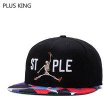 2019 New MEN Hip Hop Cap Rap Hat Skull Rose Embroidery Black Adjustable