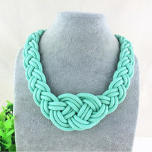 Choker Necklace Brand Jewelry Women Cord-Chains Pendants Beads Bib-Collar Bohemia Silk