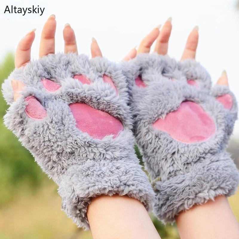 Handschoenen Vrouwen Dikker Warme Winter Kawaii Pluche Kat Klauw Poot Cartoon Half-vinger Sweet Womens Handschoen Mooie Meisjes Trendy Leuke Mitts