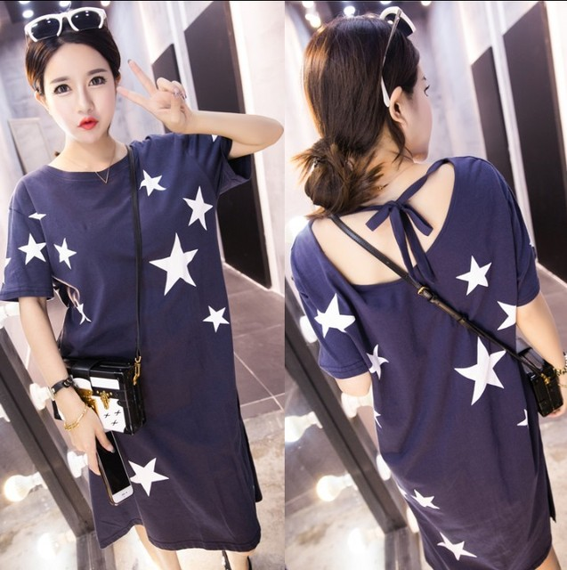 Yz276 Spring and Summer maternity clothing Stars lacing short sleeve one-piece dress plus size pregnant woman racerback dress