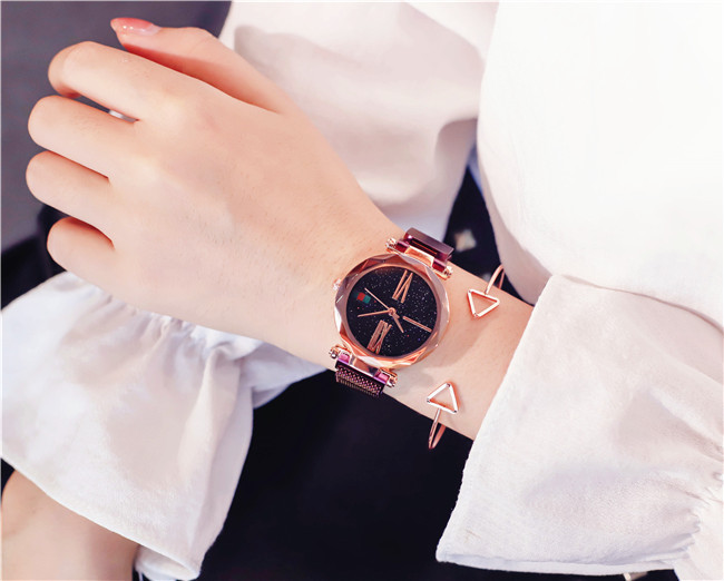Luxury Rose Gold Women Watches Minimalism Starry sky Magnet Buckle Fashion Casual Female Wristwatch Waterproof Roman Numeral 15