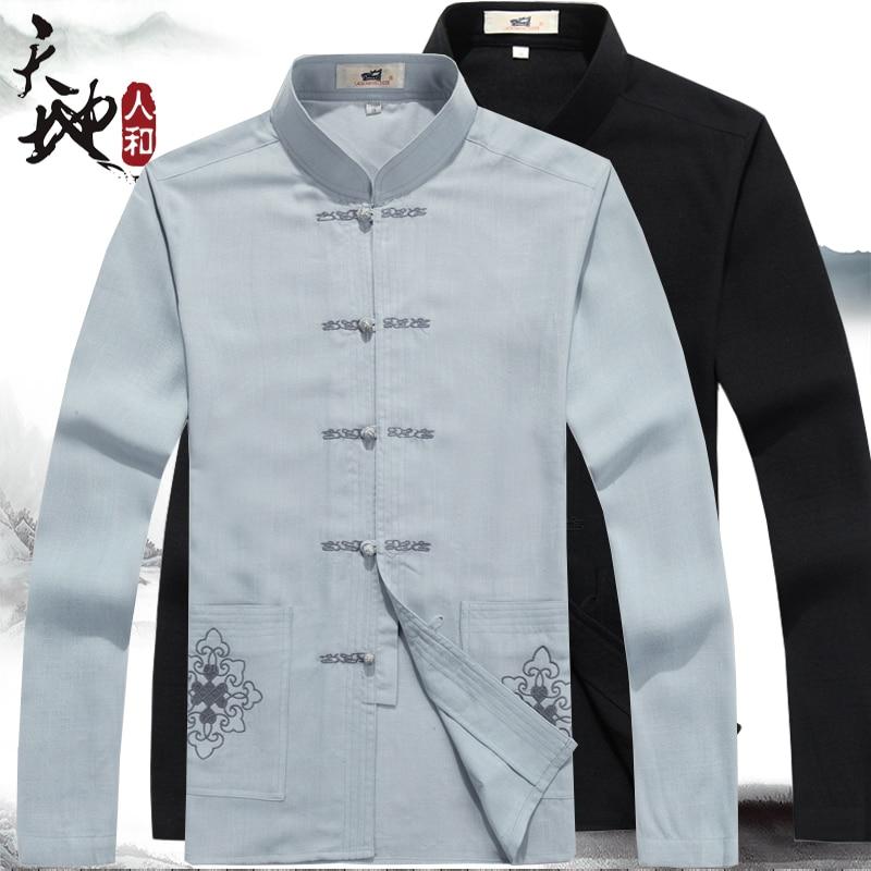 С длинным рукавом серый белье традиционной китайской одежды тан-костюм лучших кунг-фу тай-чи форму весна осень футболка блузка для мужчин