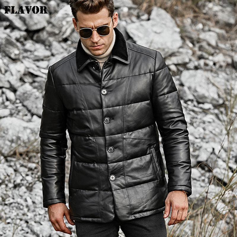 Image 2 - FLAVOR Men's Real Leather Down Jacket Men Genuine Lambskin Winter Warm Leather Coat with Turn down Sheep Fur Collar-in Genuine Leather Coats from Men's Clothing