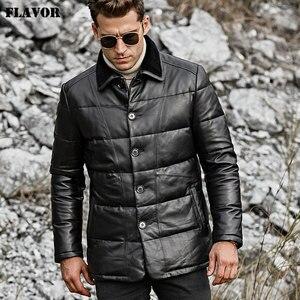 Image 2 - SMAAK mannen Echt Leer Donsjack Mannen Echt Lamsvacht Winter Warm Leather Coat met Turn down Schapen Bontkraag