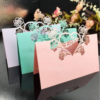 200Pcs Lot Laser Cut Lover Rose Table Place Card Wedding Party Menu Card Wedding Favor Party