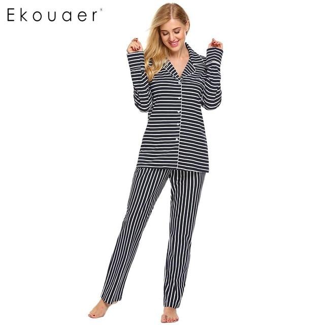 43e1999d29382b R$ 231.58 |Ekouaer Marca Listrado Pijama Outono Inverno Botão Camisa Longa  Calça Pijamas Set Mulheres Casuais De Manga Comprida Camisola Plus Size ...