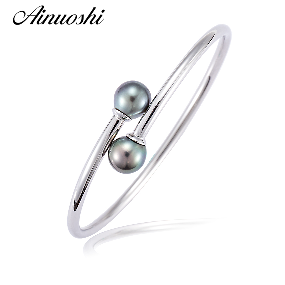 AINUOSHI Natural Tahitian Cultured Pearl Round Pearl Bangle 925 Sterling Silver Open Adjustable Women Bracelet Birthday