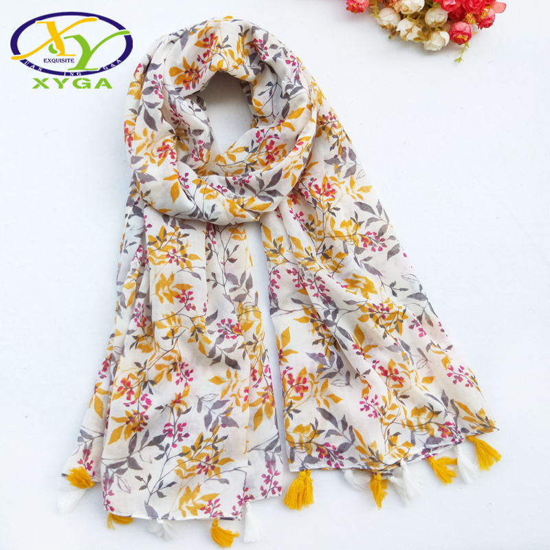 1PC Women Flower Cotton Long   Scarf   Autum Fashion Fringes Viscose Ladies Shawls Spring Thin Summer   Scarves   Soft   Wraps   Winter
