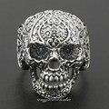 Solid 925 Sterling Silver Mens Skull Biker Ring 8V001