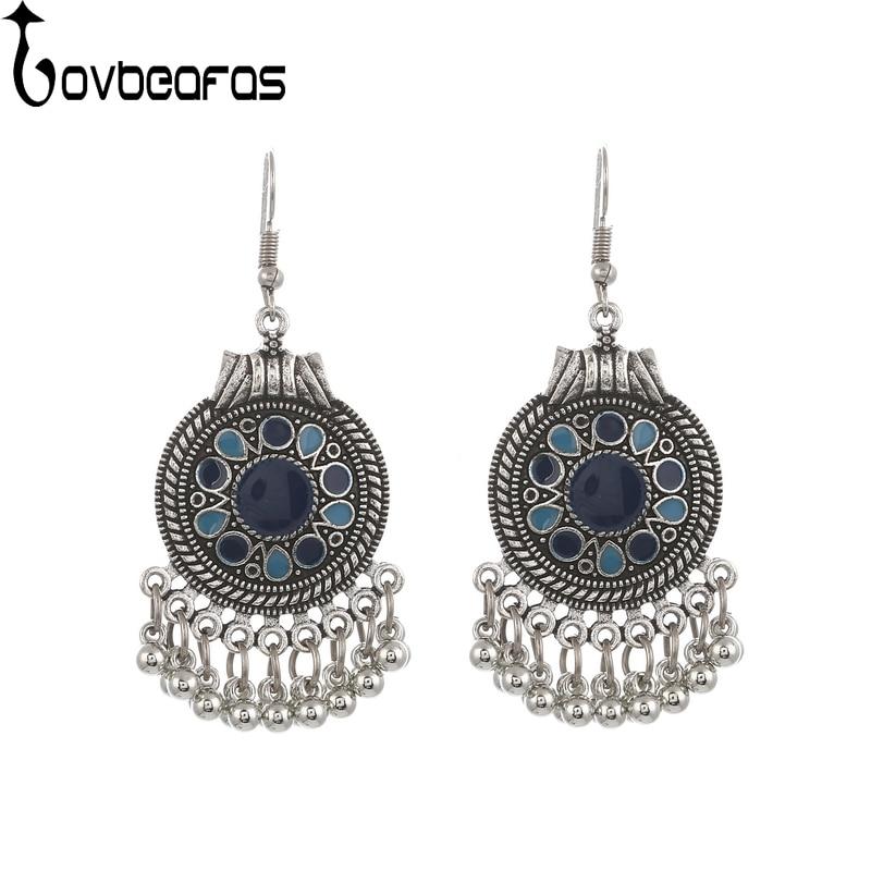 LOVBEAFAS Boho Vintage Drop Dangle Beads Tassel Earrings For Women Bohemian Enamel Jewelry Accessories Fashion Long Earrings
