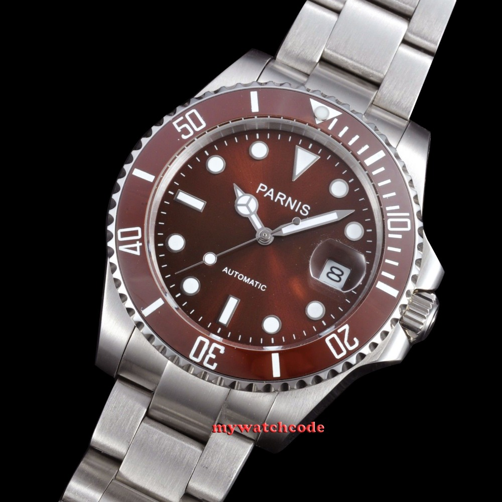 40mm Parnis red dial MIYOTA automatic movement sapphire glass Mens Watch P385