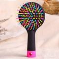 Rainbow Volume Anti-static Magic Detangler Hair Curl Straight Massage Comb Brush Styling Tools With A Mirror 21008
