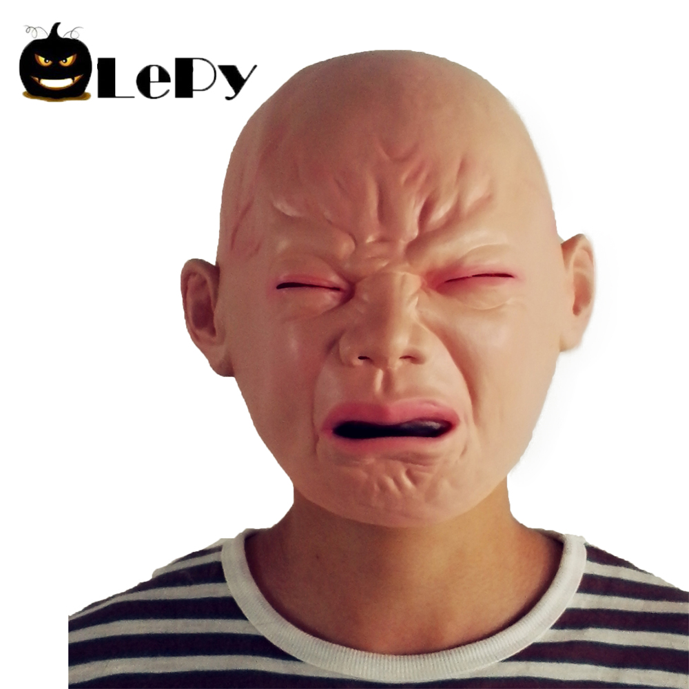 Halloween Cry Baby Latex Mask Head Rubber Sad Party Funny Masquerade Spoof Mask