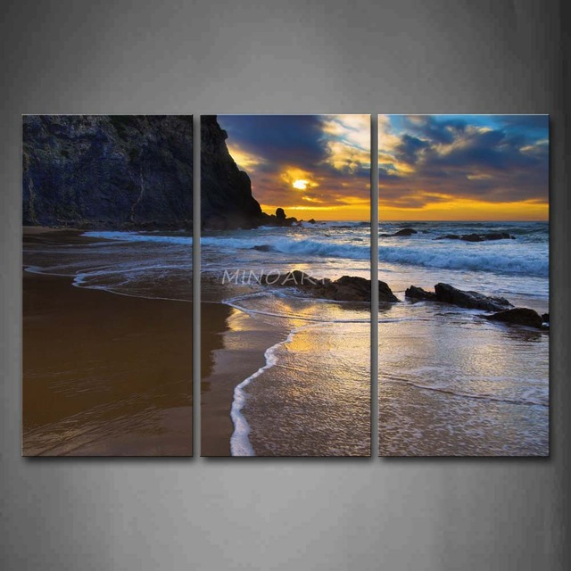 3 piece wall art painting sea waves on sand beach with rocks print on canvas the