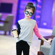 Children's clothing 2019 spring autumn new fashion wild round neck shirt trend casual two-tone long-sleeved T-shirt 3-12 years two tone cream long sleeves high low t shirt