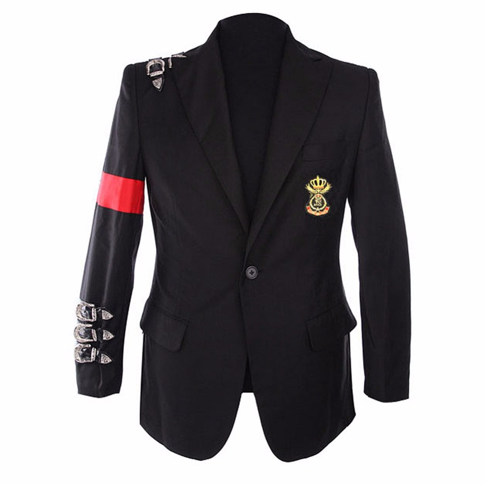Rare Casual Classic MJ Michael Jackson BAD Jacket Informal Buckle Badge Suit Blazer For Fans Imitator Best Gift image