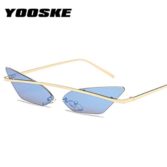 YOOSKE Étroite Cat Eye lunettes de Soleil Sans Monture Femmes Hommes Vintage  Marque Designer En Métal 9961af3907fa