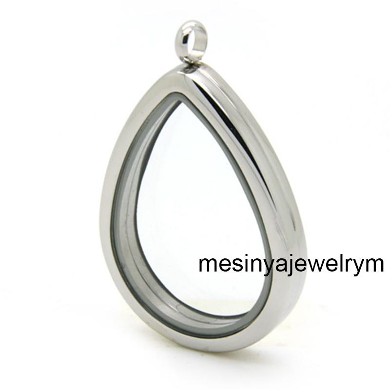 10pcs 316L Stainless Steel Tear Drop Magnetic Plain Glass Locket forFloating Charms Keepsaking Xmas Gifts No