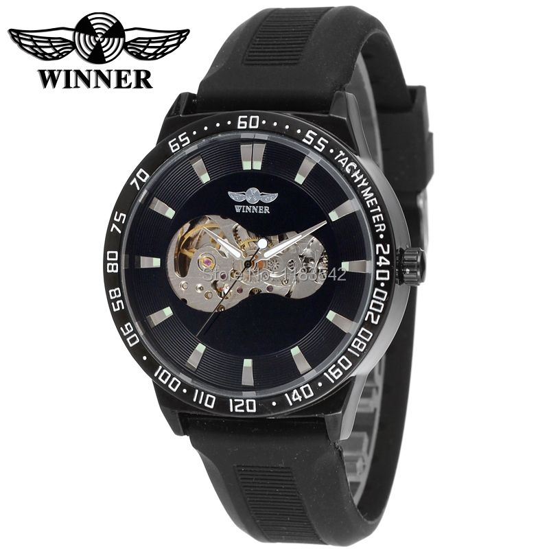 WINNER WRG8030M3B1 Automatic fashion dress wristwatch black watch with silicone strap for men hot selling free ship