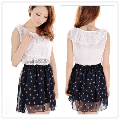 Hot-selling 2 women's lace cake patchwork elastic sweep chiffon dot one-piece dress