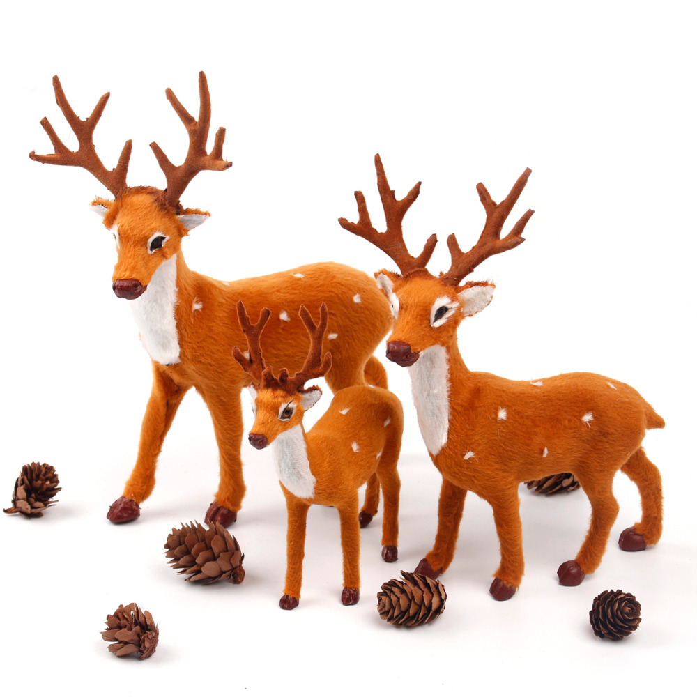 Fengrise 15 20 25cm Reindeer Christmas Deer Elk Plush Simulation Decorations For Home New Year Birthday Wedding Gift In Pendant Drop Ornaments