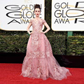 2017 Golden Globe Award Lily Collins Celebrity Dresses Elegant Zuhair Murad Formal Evening Dress Long Pink Beads Red carpet Gown